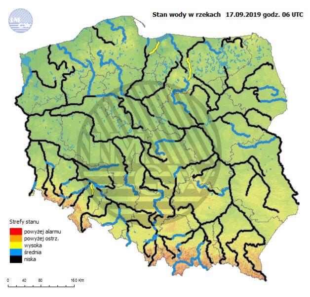 Stan rzek w Polsce 17 września o godzinie 8 (pogodynka.pl/hydro/rzeki/)