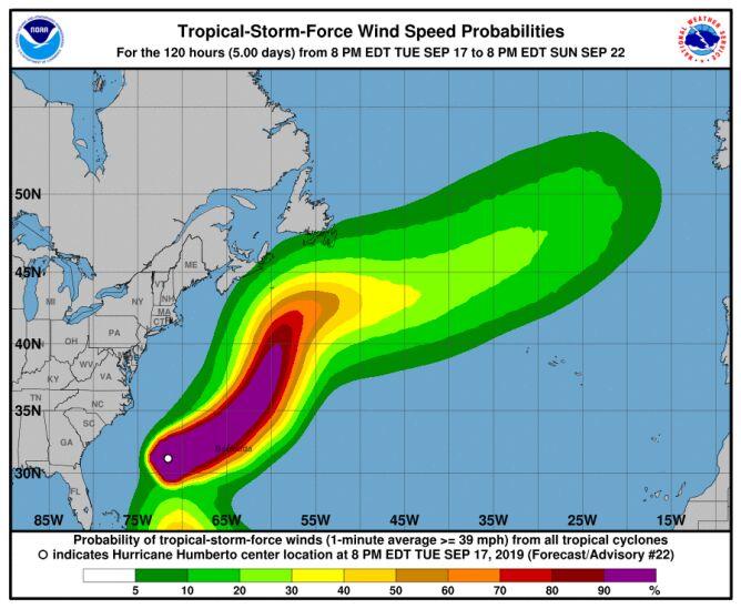 Prognozowana prędkość wiatru huraganu Humberto (NHC)