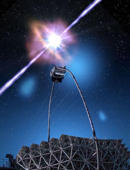 Teleskop Magic i błysk GRB 190114C (Gabriel Pérez Díaz, IAC)