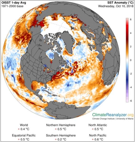 Odchylenie temperatury wód powierzchniowych Atlantyku (Climate Change Institute/University of Maine)