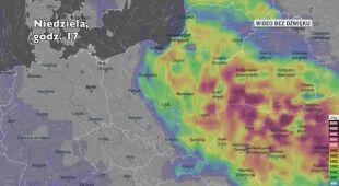 Potencjalny rozwój burz w najbliższych dniach (Ventusky.com)